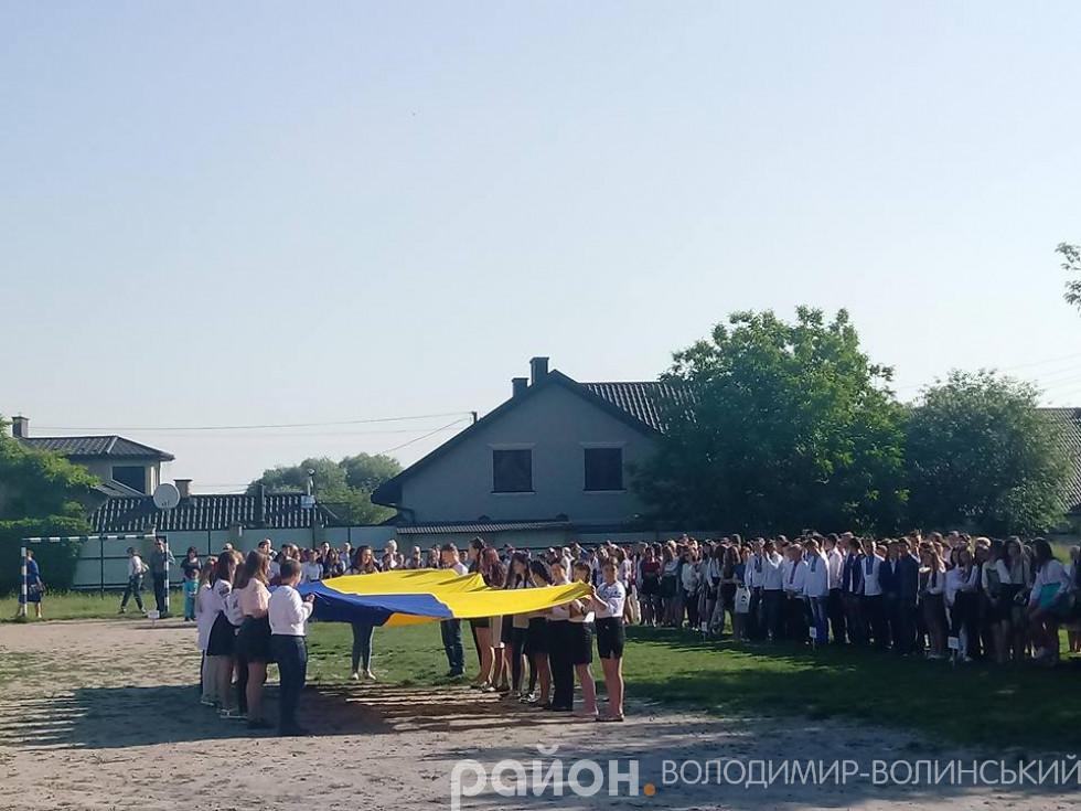 На подвір'ї гімназії розтягнули великий українськй прапор