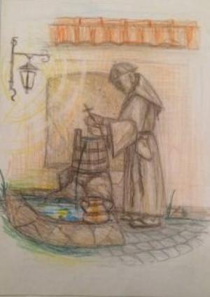 У сквері біля історичного музею чоловік запроектував скульптуру монаха капуцина.