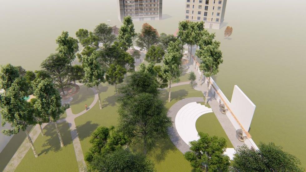 Сквер поділено на функціональні зони, з метою не залишити жоден його куточок без уваги.